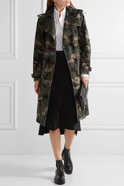 Valentino Embellished camouflage-print cotton-canvas trench coat