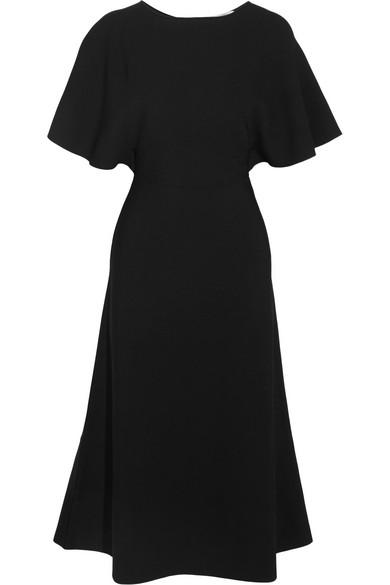 Valentino - Cape-effect Crepe Dress - Black