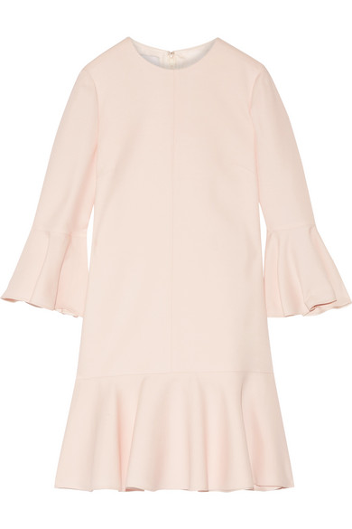 Valentino - Fluted Wool And Silk-blend Mini Dress - Pastel pink