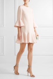 Valentino Fluted wool and silk-blend mini dress