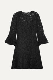 Valentino Ruffled cotton-blend guipure lace mini dress