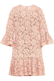 Valentino Ruffled corded cotton-blend guipure lace mini dress