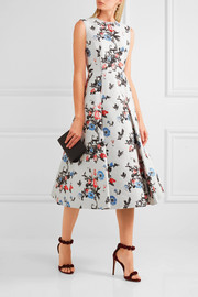 Pleated brocade midi dress