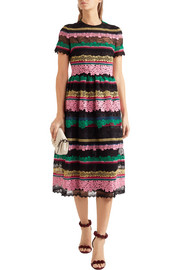 Paneled appliquéd cotton-blend lace midi dress