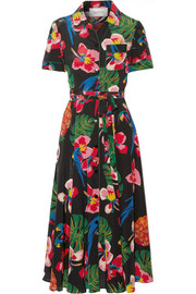 Printed silk crepe de chine shirt dress