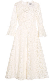 Valentino Corded cotton-blend guipure lace midi dress