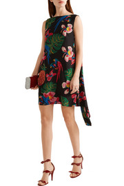 Valentino Draped printed silk crepe de chine mini dress