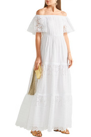 Valentino Off-the-shoulder broderie anglaise cotton-blend maxi dress