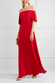 Valentino Off-the-shoulder silk-georgette gown