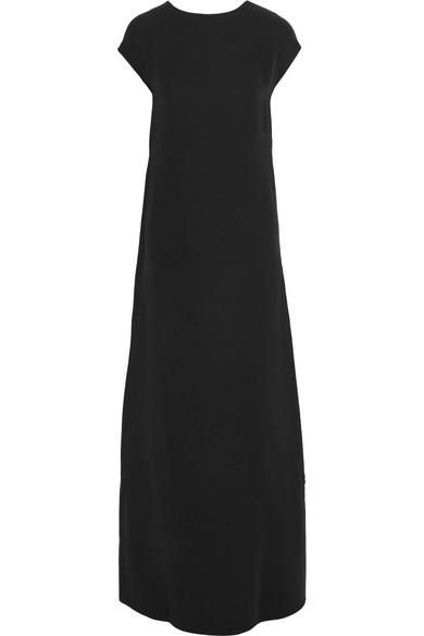 Valentino Robe aus Seiden-Cady mit drapierter, offener Rückseite
