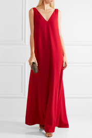 Draped wool-crepe gown