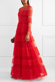 Valentino Paneled Chantilly lace and tulle gown