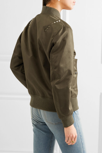 VALENTINO Cottons The Rockstud satin bomber jacket