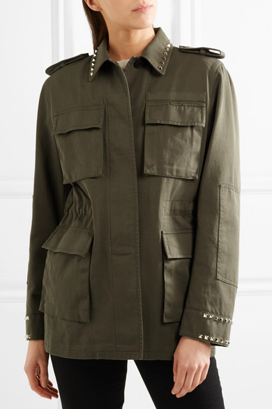 Valentino Jackets The Rockstud oversized cotton-twill parka
