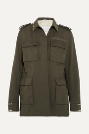 Valentino The Rockstud oversized cotton-twill parka
