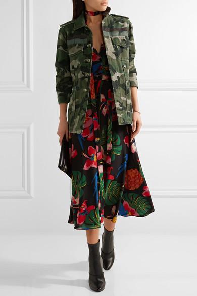 Valentino Jacke aus Baumwoll-Gabardine mit Camouflage-Print und Streifen