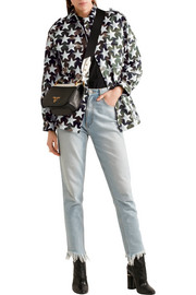 Oversized printed cotton-twill jacket