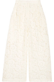 Valentino Cropped corded cotton-blend guipure lace wide-leg pants