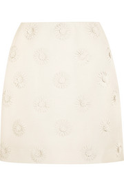 Valentino Floral-appliquéd wool and silk-blend crepe mini skirt