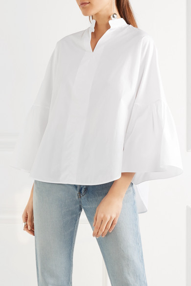 f9fe8e54f81c7a Bell-sleeve cotton-poplin blouse