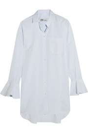 Valentino Ruffled pinstriped cotton-poplin shirt