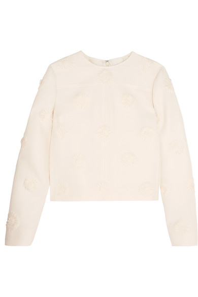 Valentino - Floral-appliquéd Wool And Silk-blend Crepe Top - Ivory