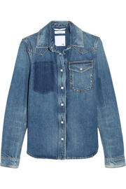 Valentino Rockstud distressed denim shirt