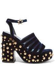 MR by Man Repeller Lol If You Think I'm Walking embellished velvet platform sandals