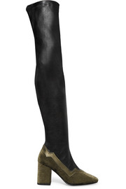 The I'm Really Here To Party leather and  embossed velvet over-the-knee boots