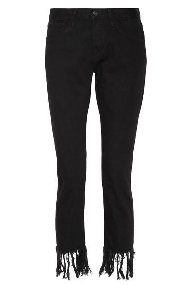 3x1 female 3x1 wm3 crop fringe highrise straightleg jeans black