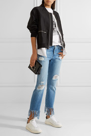 WM3 Crop Fringe distressed mid-rise straight-leg jeans