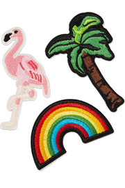 3x1 Vacation Forever set of three embroidered cotton patches