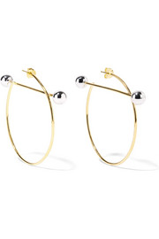 Solar gold and silver-plated hoop earrings