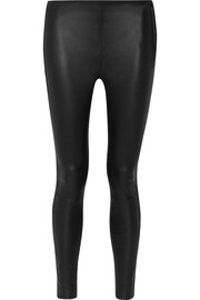 Karl Lagerfeld Suede-trimmed leather leggings