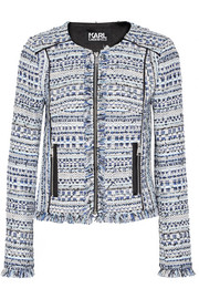 Karl Lagerfeld Satin-trimmed fringed metallic tweed jacket