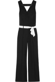 Satin-trimmed belted crepe jumpsuit