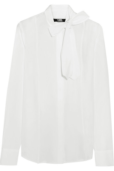 Karl Lagerfeld - Pussy-bow Silk Crepe De Chine Blouse - White