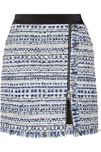 Karl Lagerfeld - Satin-trimmed Fringed Metallic Tweed Mini Skirt - Blue