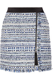 Karl Lagerfeld Satin-trimmed fringed metallic tweed mini skirt