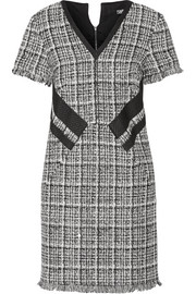 Fringed cotton-blend tweed mini dress