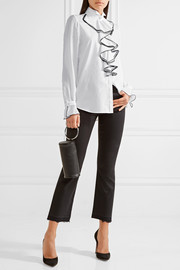 Karl Lagerfeld Ruffled georgette-paneled cotton-poplin shirt