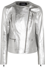 Karl Lagerfeld Metallic textured-leather biker jacket