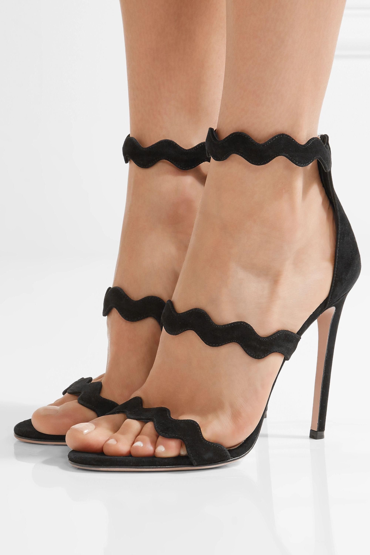 Prada Scalloped suede sandals