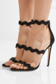 Scalloped suede sandals