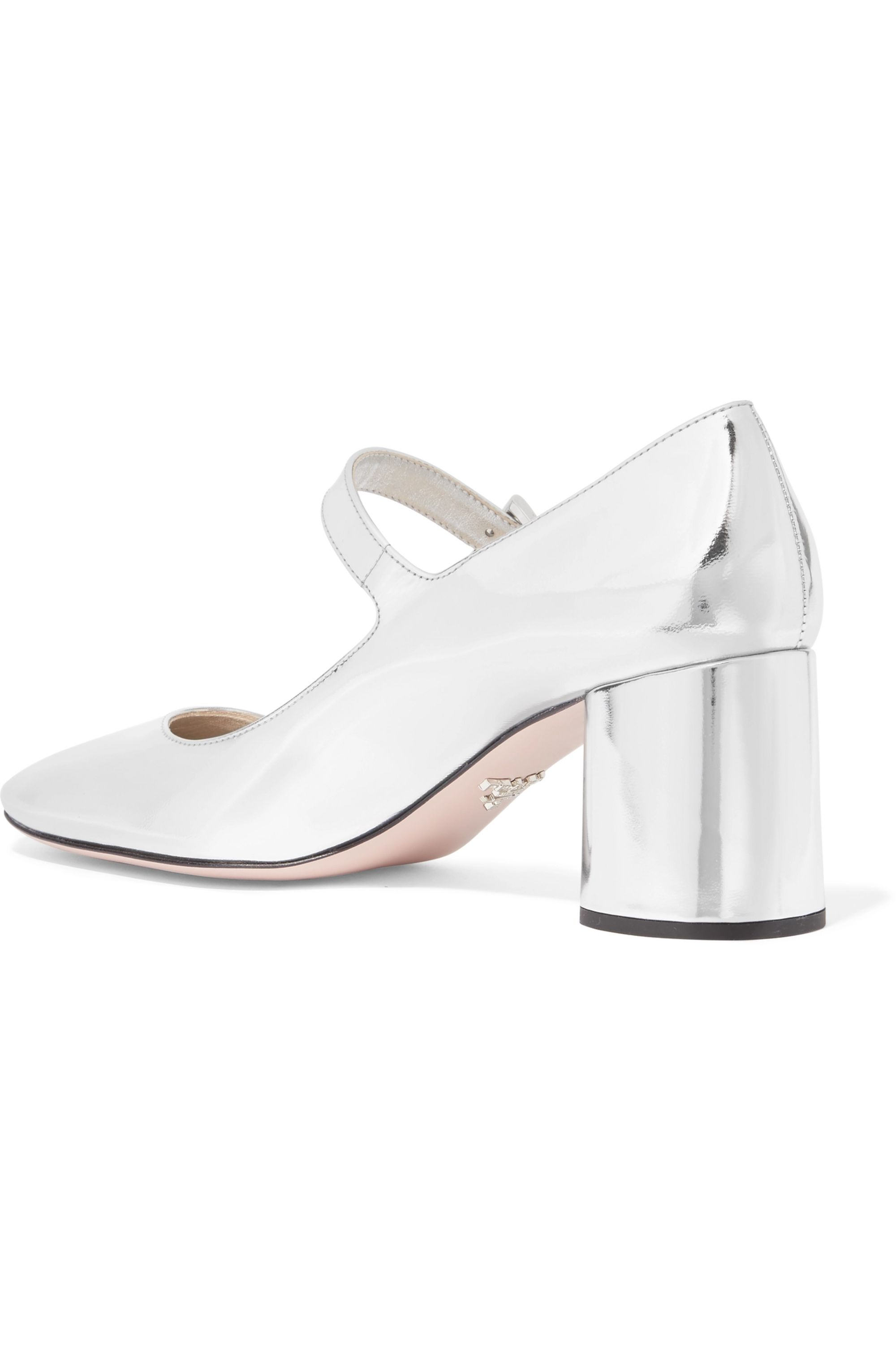 Prada Metallic leather Mary Jane pumps