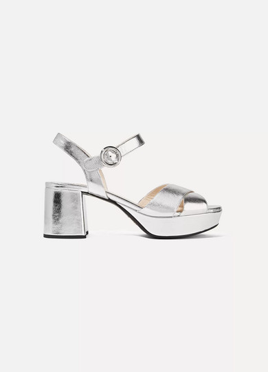 76ac979b5f4 Prada. Metallic leather platform sandals