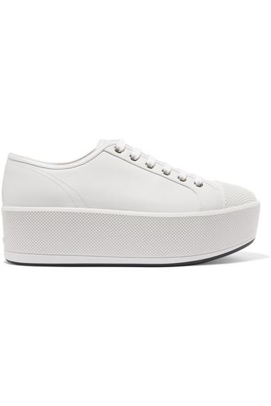 Prada Sport Leather Platform Sneakers pre order sale online 98nny74af
