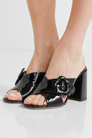 Buckled patent-leather mules