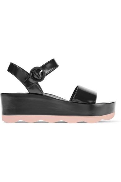 Glossed-leather platform sandals