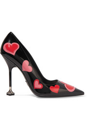 Appliquéd patent-leather pumps